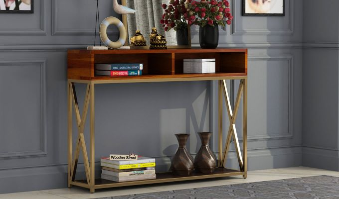 Sapphire Cross Console Table (Honey Finish)-1