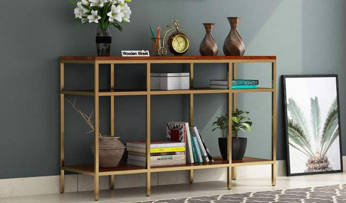 Stilt Console Table (Honey Finish)-1
