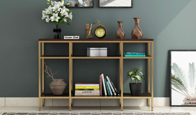 Stilt Console Table (Walnut Finish)-2