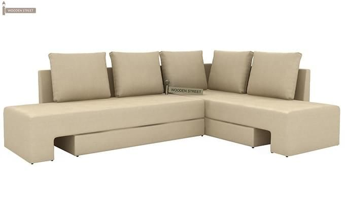 Mckellen L Shape Right Arm Corner Sofa Cum Bed (Ivory)-3