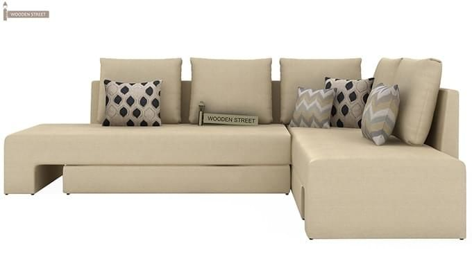 Mckellen L Shape Right Arm Corner Sofa Cum Bed (Ivory)-4
