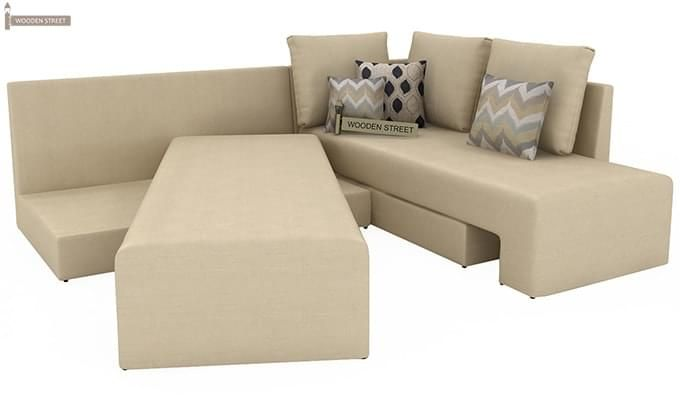 Mckellen L Shape Right Arm Corner Sofa Cum Bed (Ivory)-5