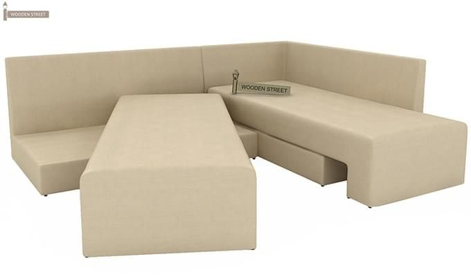 Mckellen L Shape Right Arm Corner Sofa Cum Bed (Ivory)-8