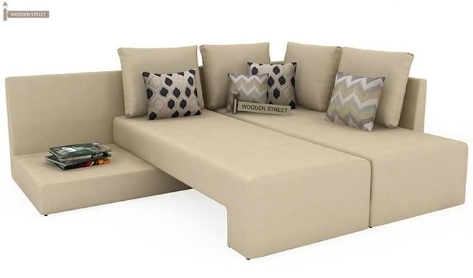 Mckellen L Shape Right Arm Corner Sofa Cum Bed (Ivory)-6