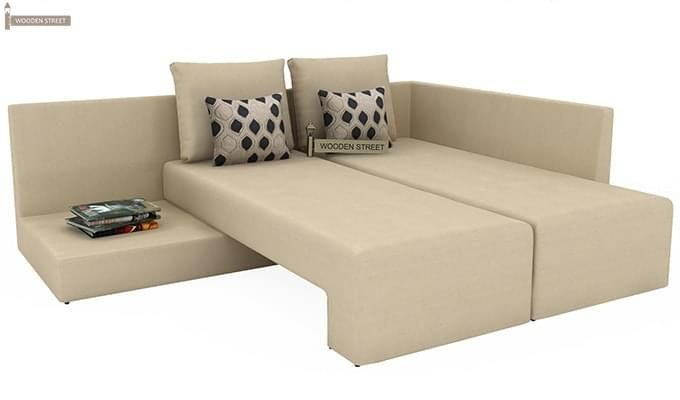 Mckellen L Shape Right Arm Corner Sofa Cum Bed (Ivory)-7