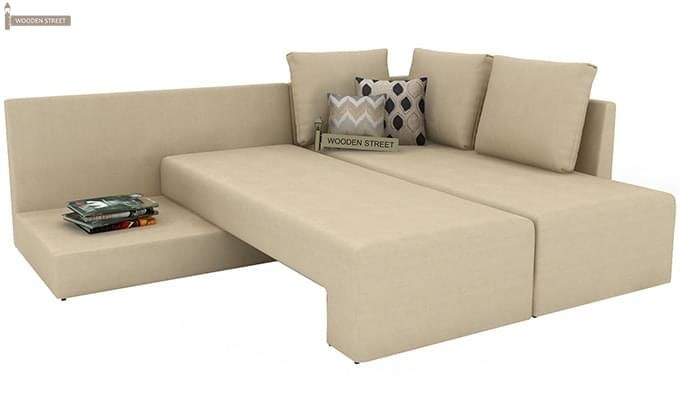 Mckellen L Shape Right Arm Corner Sofa Cum Bed (Ivory)-9