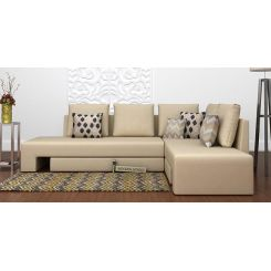 Mckellen L Shape Right Arm Corner Sofa Cum Bed (Ivory)