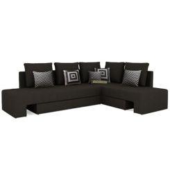 Mckellen L Shape Right Arm Corner Sofa Cum Bed (Brown)