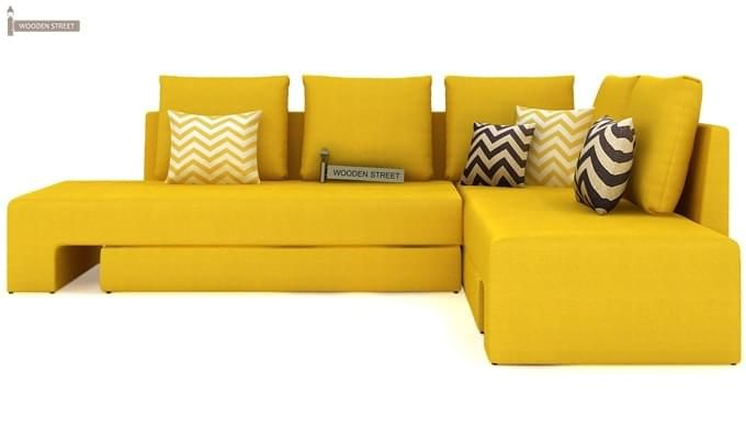 Mckellen L Shape Right Arm Corner Sofa Cum Bed (Yellow)-2