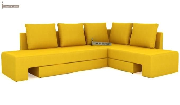 Mckellen L Shape Right Arm Corner Sofa Cum Bed (Yellow)-3
