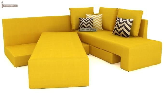 Mckellen L Shape Right Arm Corner Sofa Cum Bed (Yellow)-4