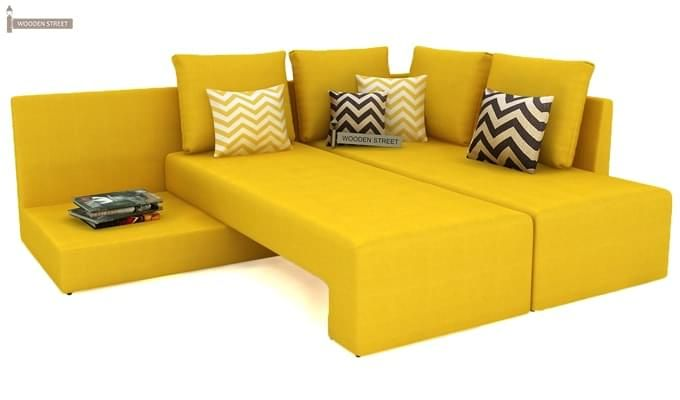 Mckellen L Shape Right Arm Corner Sofa Cum Bed (Yellow)-5