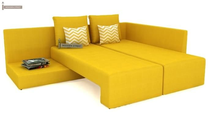 Mckellen L Shape Right Arm Corner Sofa Cum Bed (Yellow)-6