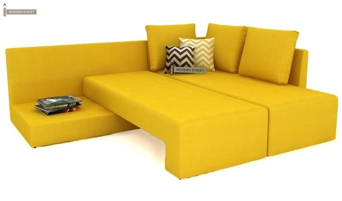 Mckellen L Shape Right Arm Corner Sofa Cum Bed (Yellow)-7