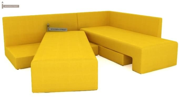 Mckellen L Shape Right Arm Corner Sofa Cum Bed (Yellow)-8