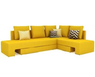 Mckellen L Shape Right Arm Corner Sofa Cum Bed (Yellow)