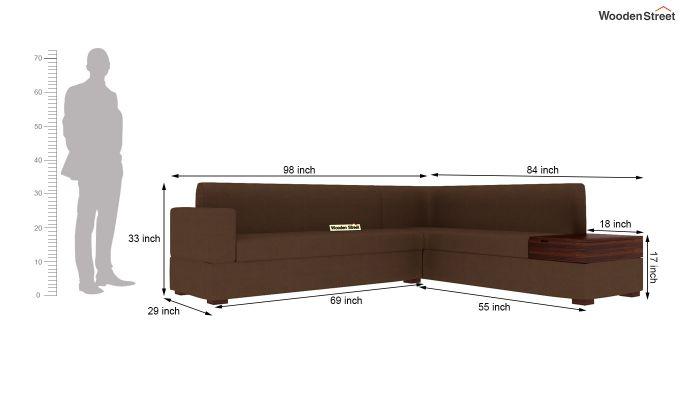 Argos L - Shape Left Arm Corner Sofa (Classic Brown)-9