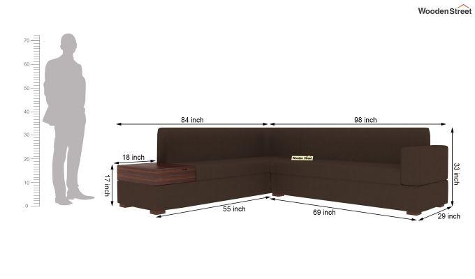 Argos L - Shape Left Aligned Corner Sofa (Classic Brown)-8