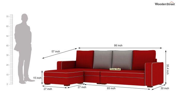 Delos L - Shape Left Aligned Corner Sofa (Dusky Rose) (Dusky Rose)-6