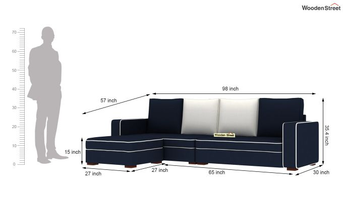 Delos L - Shape Left Arm Corner Sofa (Indigo Ink) (Indigo Ink)-6