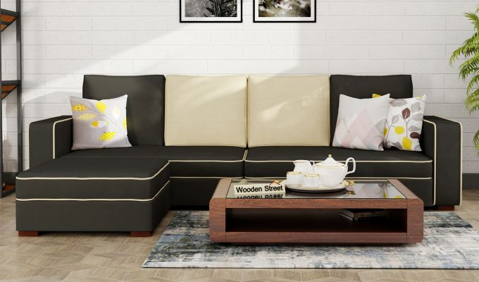 Delos L - Shape Left Arm Corner Sofa (Steel Grey) (Steel Grey)-1
