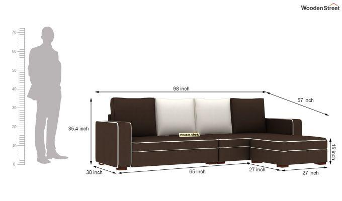 Delos L - Shape Right Aligned Corner Sofa (Classic Brown) (Classic Brown)-6