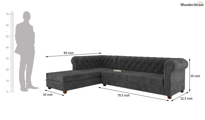 Henry L - Shape Left Aligned Corner Sofa (Velvet, Graphite Grey)-5