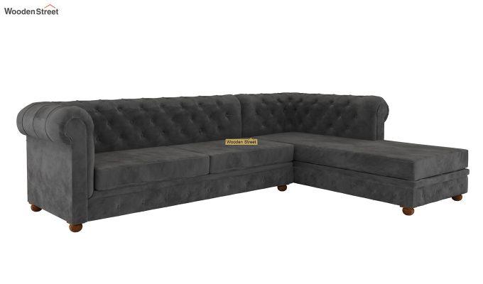 Henry L - Shape Right Aligned Corner Sofa (Velvet, Graphite Grey)-3