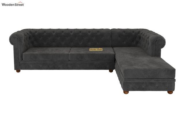 Henry L - Shape Right Aligned Corner Sofa (Velvet, Graphite Grey)-2