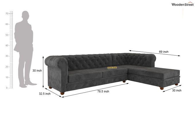 Henry L - Shape Right Aligned Corner Sofa (Velvet, Graphite Grey)-5