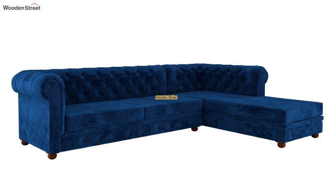Henry L - Shape Right Aligned Corner Sofa (Velvet, Indigo Blue)-2