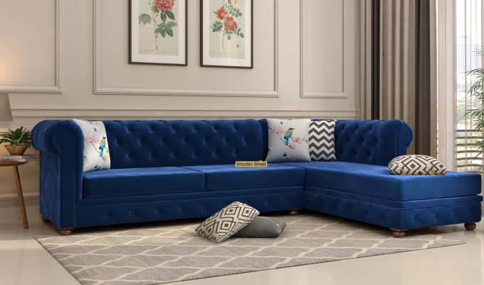 Henry L - Shape Right Aligned Corner Sofa (Velvet, Indigo Blue)-1