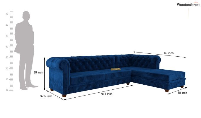 Henry L - Shape Right Aligned Corner Sofa (Velvet, Indigo Blue)-5