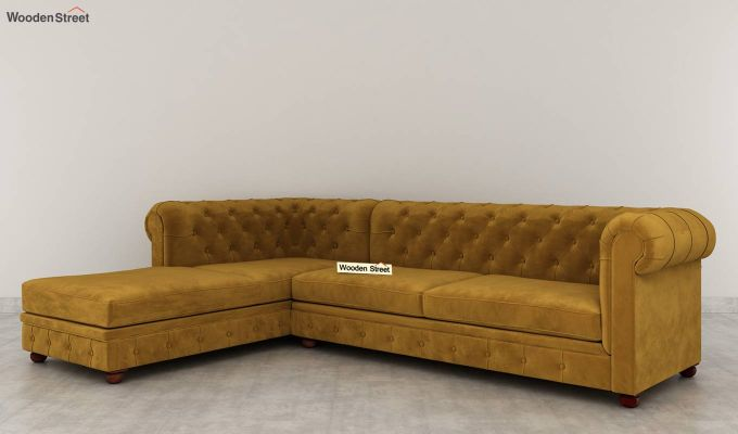 Henry L - Shape Left Aligned Corner Sofa (Velvet, Chestnut Brown)-3