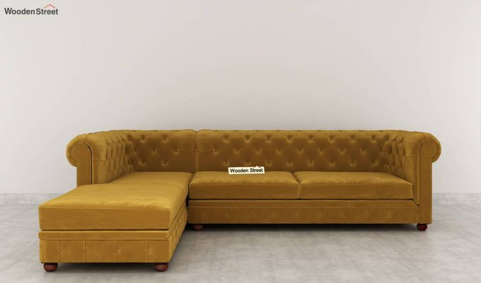 Henry L - Shape Left Aligned Corner Sofa (Velvet, Chestnut Brown)-4