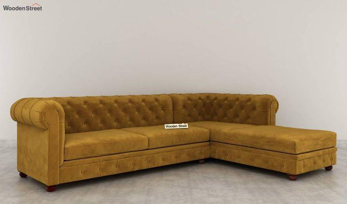Henry L - Shape Right Arm Corner Sofa (Velvet, Olive Gold)-3