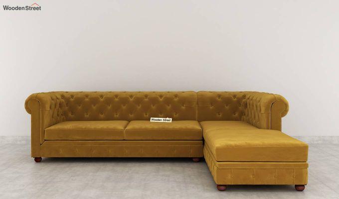 Henry L - Shape Right Arm Corner Sofa (Velvet, Olive Gold)-4