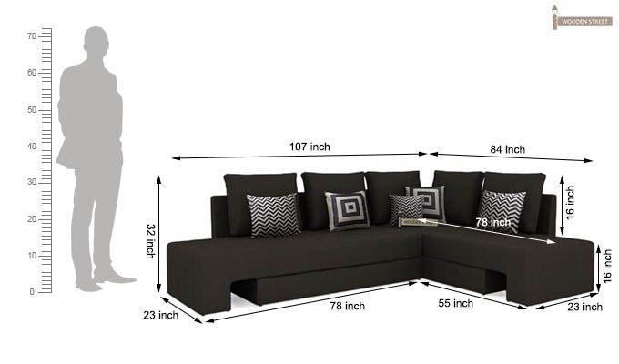 Mckellen L Shape Right Arm Corner Sofa Cum Bed (Brown)-9