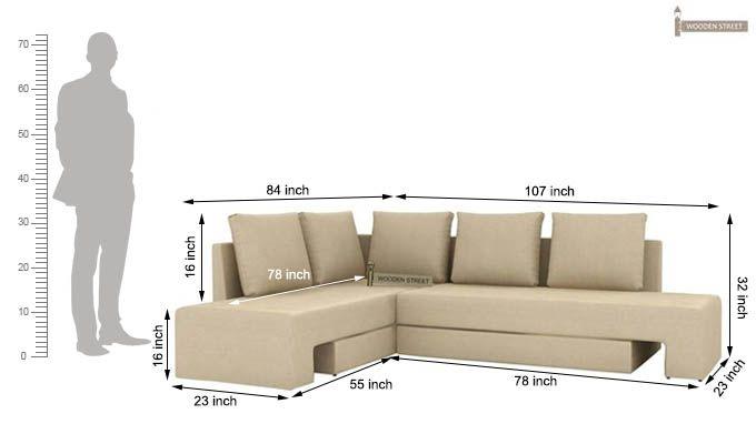 Mckellen L Shape Left Arm Corner Sofa Cum Bed (Ivory)-10