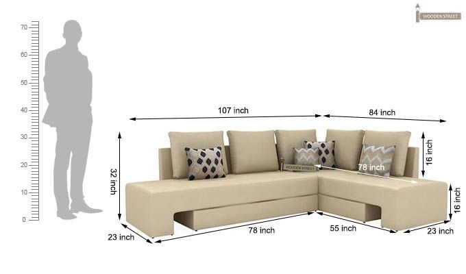 Mckellen L Shape Right Arm Corner Sofa Cum Bed (Ivory)-11