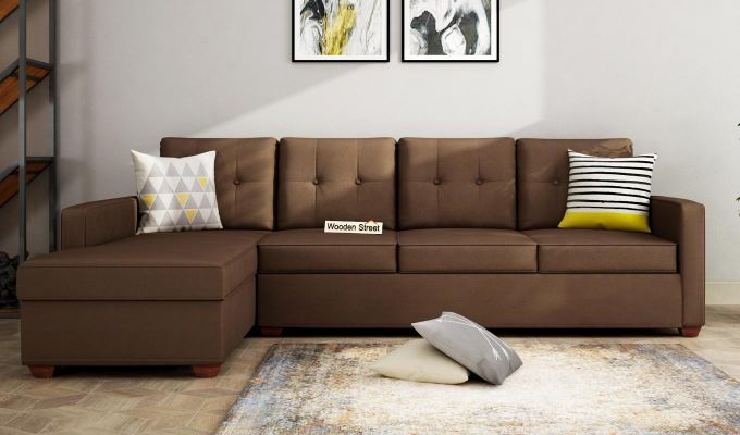 Nicolas 3 Seater L Shape Left Aligned Sofa (Classic Brown)-1