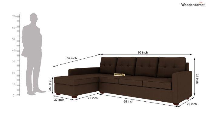 Nicolas 3 Seater L Shape Left Aligned Sofa (Classic Brown)-5