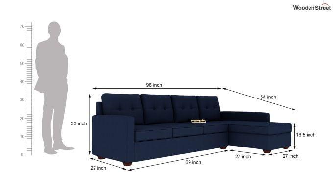 Nicolas 3 Seater L Shape Right Aligned Sofa (Indigo Ink)-5