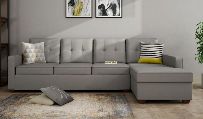 Nicolas 3 Seater L Shape Right Aligned Sofa (Warm Grey)-1