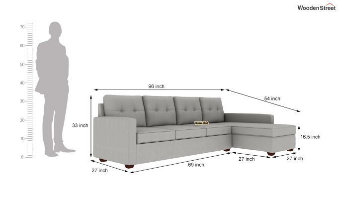 Nicolas 3 Seater L Shape Right Aligned Sofa (Warm Grey)-5