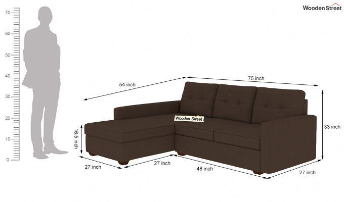Nicolas L Shape Left Aligned Sofa (Classic Brown)-5