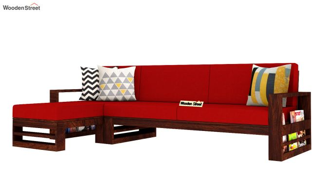 Ryker  L-Shape Left Arm Wooden Sofa (Dusky Rose)-2