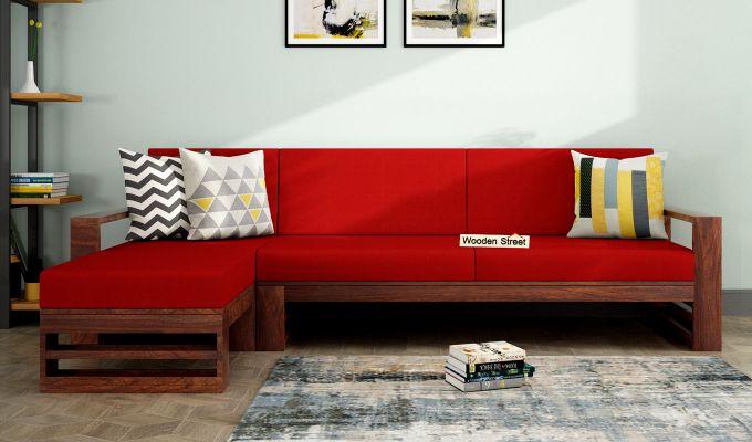 Ryker L-Shape Left Aligned Wooden Sofa (Dusky Rose)-1