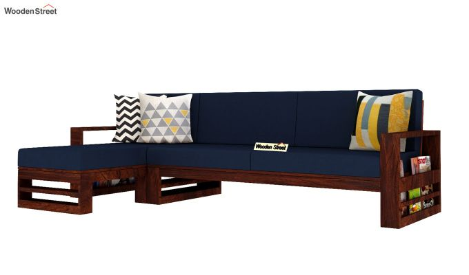 Ryker L-Shape Left Aligned Wooden Sofa (Indigo Ink)-2