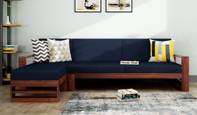 Ryker L-Shape Left Aligned Wooden Sofa (Indigo Ink)-1